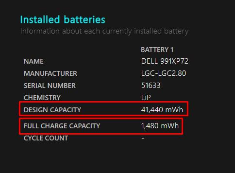 melihat sisa kapasitas baterai