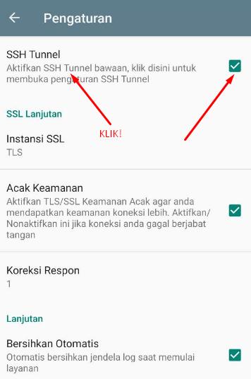 Input Akun SSH ke KPN Tunnel