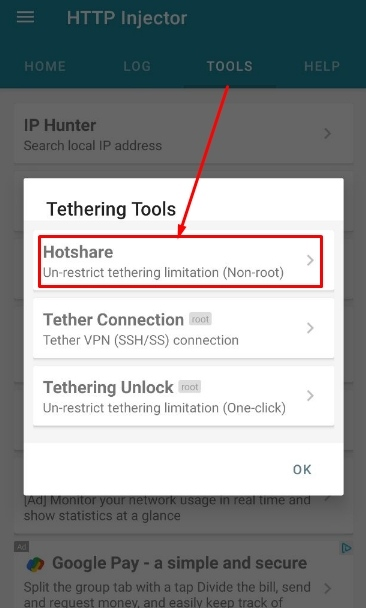 Setting HTTP Injector for Share Hotspot