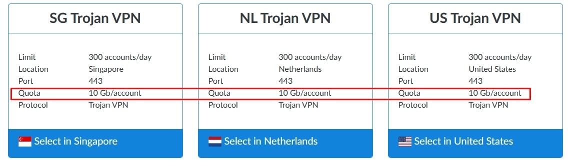 servers Howdy Trojan VPN