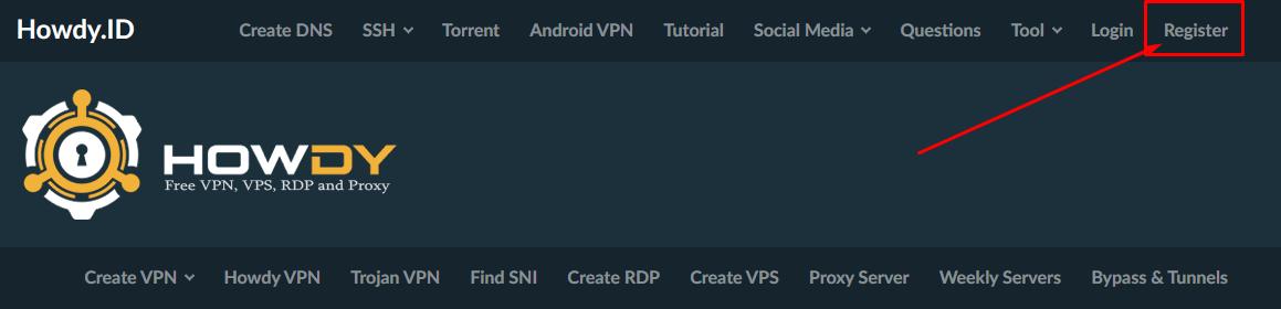 Cara Register di Situs Howdy.Id (Panel SSH VPN Premium)