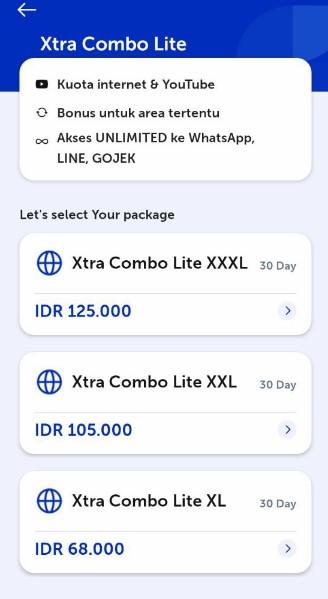 Cara Mengaktifkan Xtra Combo Lite XL